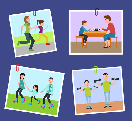 Four family s pictures fixed on color paper clips, running and roller skating, playing and doing sport parents and their children, isolated on blue