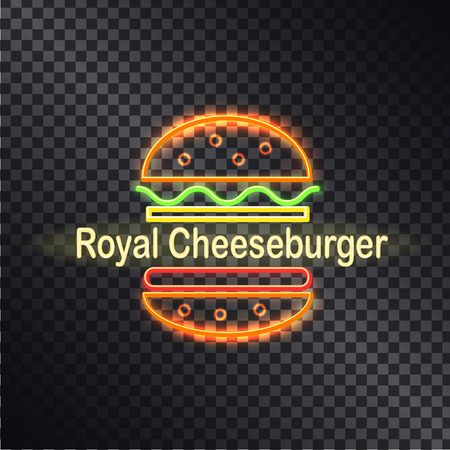 Neon icon of royal cheeseburger, colorful banner isolated on transparent backdrop, lot of curved lines, orange buns, abstract salad, cutlet and cheese
