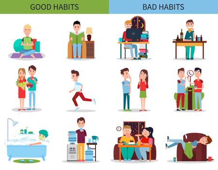 Ilustracja wektorowa kolekcji dobrych i złych nawyków