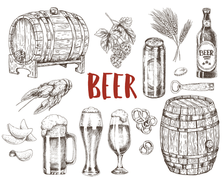 Beer in capacious glasses, wooden barrels and bottles with labels. Boiled crayfish, crispy chips and salty cracker as snack vector illustrations. 일러스트