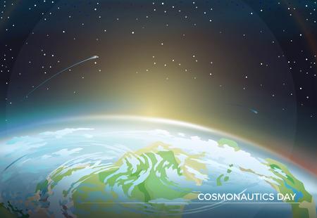 Affiche sur le thème de la journée de la cosmonautique avec une partie de la Terre et un soleil brillant à l'horizon parmi les étoiles brillantes dans l'illustration vectorielle plane de ciel sombre sans fin.