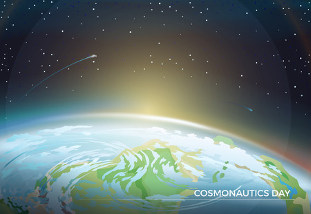Cosmonautics Day themed poster with Earth part and bright Sun on horizon among bright stars in dark endless sky cartoon flat vector illustration.