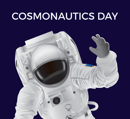 Cosmonautics Day promotional poster with spaceman in modern white pressure suit that waves with his hand isolated cartoon flat vector illustration. Çizim