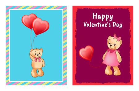 Carte avec ours avec la conception de coeur Banque d'images - 99137289