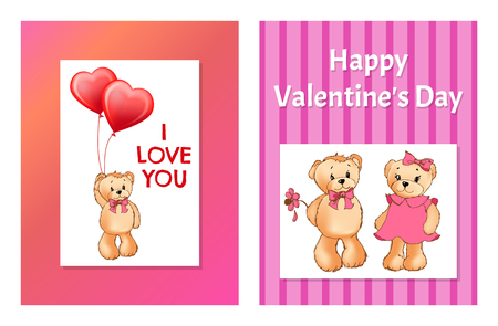 I Love You and Me Teddy Bears Vector illustration Banque d'images - 98878564