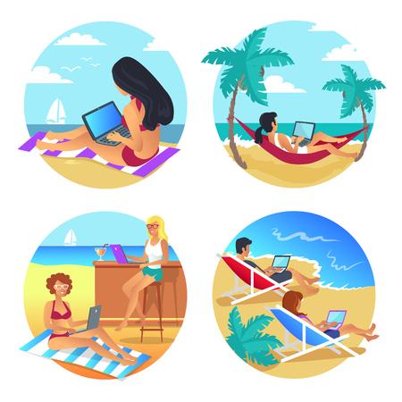 Business Summer Beach Set Vector Illustration design. Illustration
