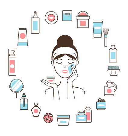 Woman in Headband inside Circle of Cosmetic Means illustration.