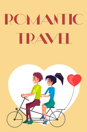 Romantic Travel vector Couple Riding on Twin Bike illustration. 向量圖像