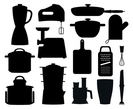 Set of Black Silhouettes of Kitchen Instruments.
