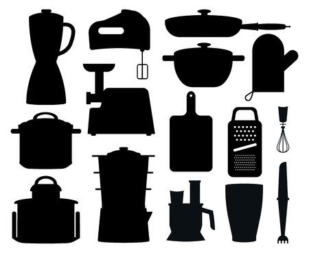 Set van zwarte silhouetten van keukeninstrumenten. Stock Illustratie