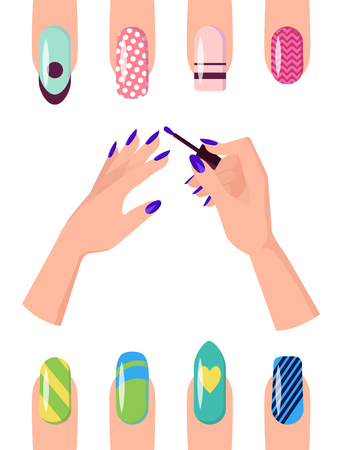 Manicure with Patterns on Nails of All Shapes Set