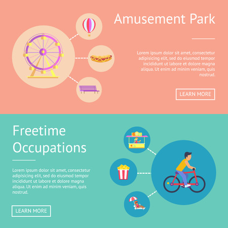 Amusement Park and Free time Vector Illustration Illustration