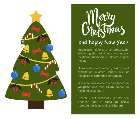 Merry Christmas Happy New Year poster with tree decorated by golden bells, candy sticks, blue balls and garlands vector web banner with place for text 스톡 콘텐츠 - 99542959