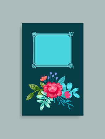 Photo album cover design with hand drawn pink flowers with green leaves at bottom and place for text in frame vector illustration, border with blossom