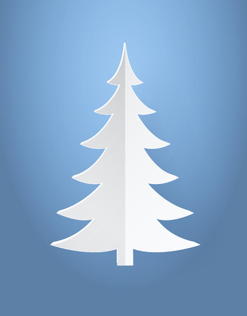 Christmas tree made of paper vector illustration isolated on blue background. Origami fir plant white color spruce decorative element for your design