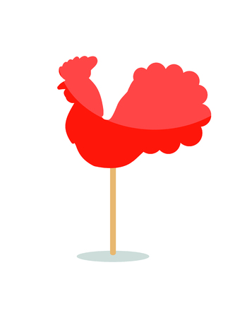 Red peacock lollipop icon on stick isolated on white background. Vector illustration with red sweet shiny candy in shape of rooster Ilustração
