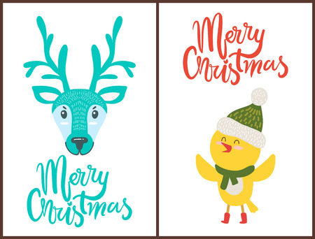 Merry Christmas Bright Poster with Cute Animals