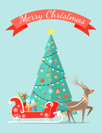 Merry Christmas Poster with Decorated Tree by Garlands Stock Photo