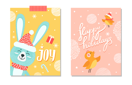 Happy holidays joy posters with smiling rabbit in hat and scarf, images of snowflakes, candy and present, singing birds on vector postcards set