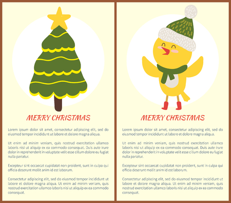 Merry Christmas greeting cards with evergreen decorated spruce tree and yellow chicken in scarf icon isolated on white vector illustration postcards Illustration