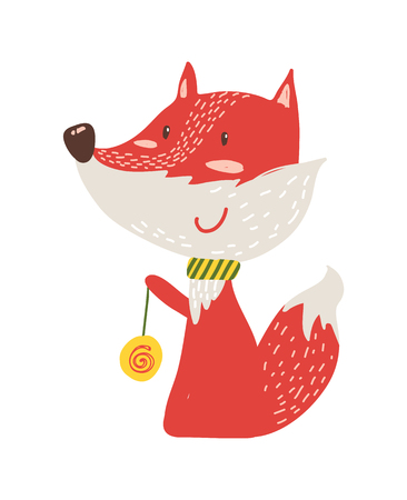 Happy red fox with yo-yo icon isolated on white background. Vector illustration with cute smiling animal with colorful rotating toy on thin rope or ball