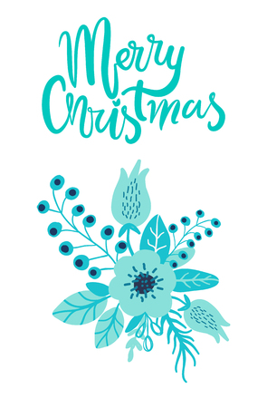 Merry Christmas greeting card floristic composition of wild flowers forest herbs with berries in blue colors isolated cartoon flat vector illustration
