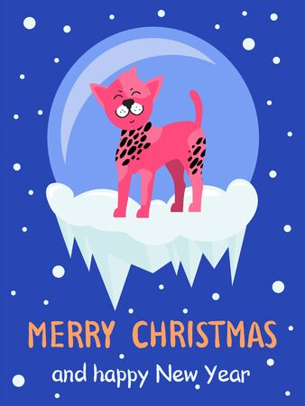 Merry Christmas and Happy New year poster, pink dog standing on ice with circle on background, snowflakes on vector illustration isolated on blue