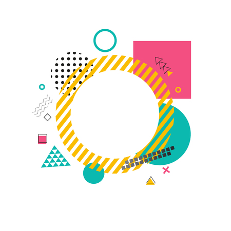 Circle made of yellow lines on vector illustration.