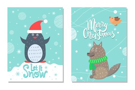 Merry Christmas let it Snow 60s Theme Postcard Stock Photo