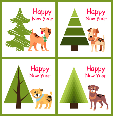 Happy New Year Posters Set Christmas Trees Puppies Illustration