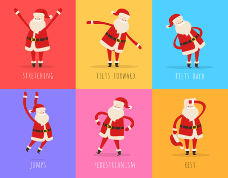Set of Active Santa Fitnes on Color Background Stock Illustratie