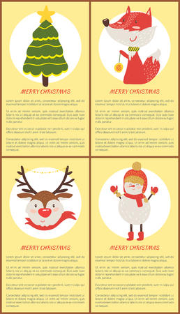 Merry Christmas set of posters with spruce, horned deer, happy fox and smiling snowman. Vector illustration animals and festival symbols in warm clothes