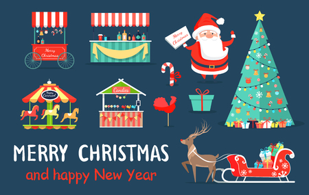 Merry Christmas icons set, Santa Claus standing with sign, various shops and carousel, reindeer with presents, evergreen tree on vector illustration