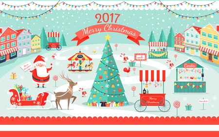 Merry Christmas 2017 festive fair poster with cheerful Santa Claus, decorated spruce, candies stores and gifts on sledge vector illustration.