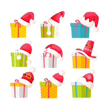 Set of Gift Boxes with Santa Claus Caps on White Ilustração