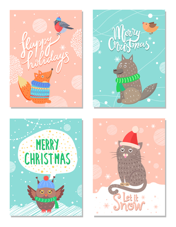 Merry Christmas and happy holidays 60s postcards with animals dressed in knitted hats, scarf or sweaters. Vector illustration with snowy xmas congratulation Vectores