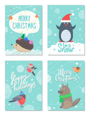 Merry Christmas and happy holidays let it snow, set of cards with images of hedgehog and penguin, bullfinches and wolf, with title vector illustration Illustration