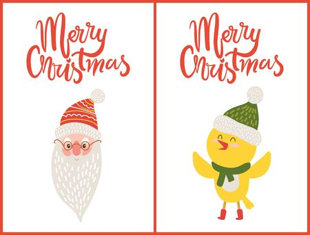 Merry Christmas Greeting Cards Santa Claus Chicken