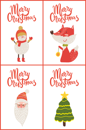 Merry Christmas Posters Titles Vector Illustration Stock Photo