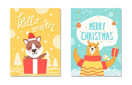 Hello winter and be merry posters, icons of trees and snowflakes used as decoration and images of puppy and rabbit isolated on vector illustration