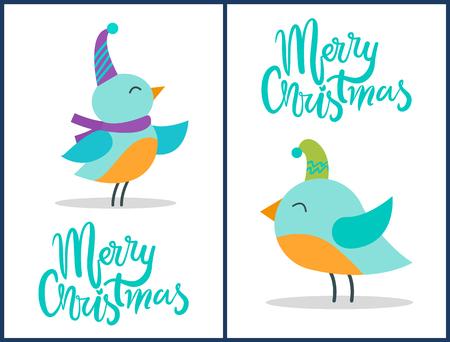 Frohe Weihnachten Grußkarten winzige Vögel Poster Standard-Bild - 99657996