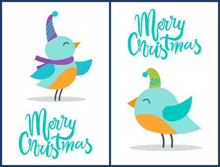 Merry Christmas greeting cards tiny birds posters. Foto de archivo - 99657996