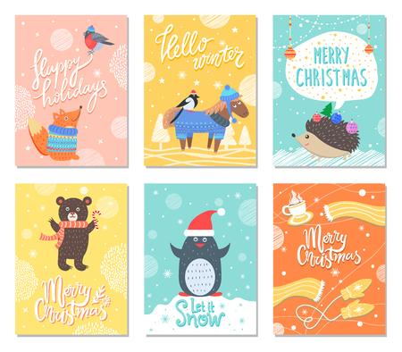 Gelukkige vakantie Hallo Winter vectorillustratie Stockfoto