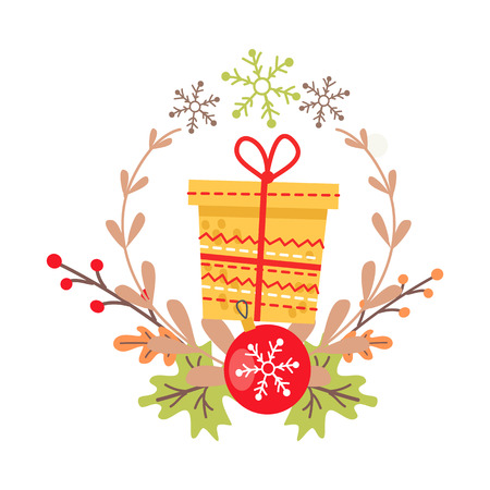 Pretty yellow Christmas badge on white background. Vector illustration of holiday decor elements autumn leaves, red guelder roses and frond. Wreath surrounds big present and red ball with snowflake Illustration