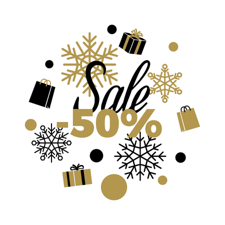 Winter discount 50 Sale sign on white background with black and gold present boxes, shopping bags, different shaped dots and snowflakes. Isolated vector illustration of advertising sale poster. Illustration