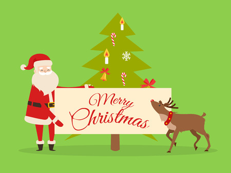 Christmas banner in Santas hand on background of New Year fir tree. Father Frost with big billboard near cute reindeer isolated on green. Winter holiday concept vector illustration in flat style