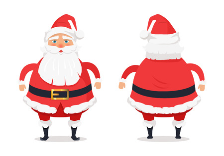 Showing different sides of Santa Claus on white. Man in red warm red holiday costume with beard. Vector illustration of front, back view of Father Christmas as decor element in cartoon style