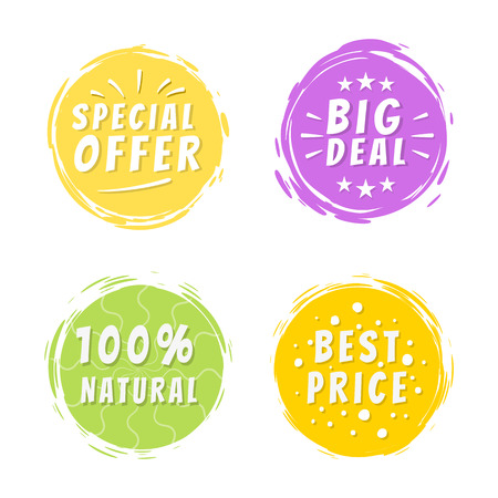 Special offer big deal 100 painted spot with brush strokes vector illustration isolated on white background, promo discounts labels design color set