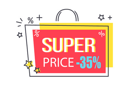 Super price -35 discount promo sticker with stars, advertisement logo design with sale proposal in shopping bag shape vector illustration badge label