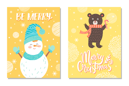 Merry Christmas postcard with smiling snowman card.